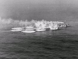 Destroyer laying depth charges