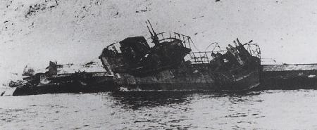U-852 beached after an aircraft attack