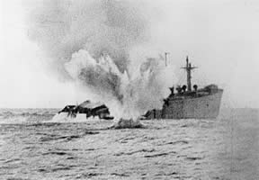 Merchant being shelled by a u-boat