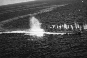 Wake of a U-boat cruising on the surface