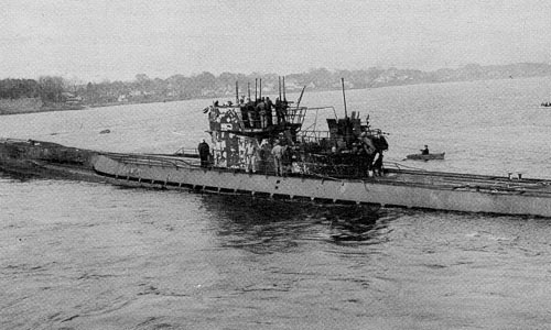 U-805, arrives in New England, Portsmouth harbor. She was the first boat to surrender.