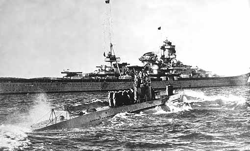 In this famous photo, U-47 receives a salute from the battlecruiser Scharnhorst after...