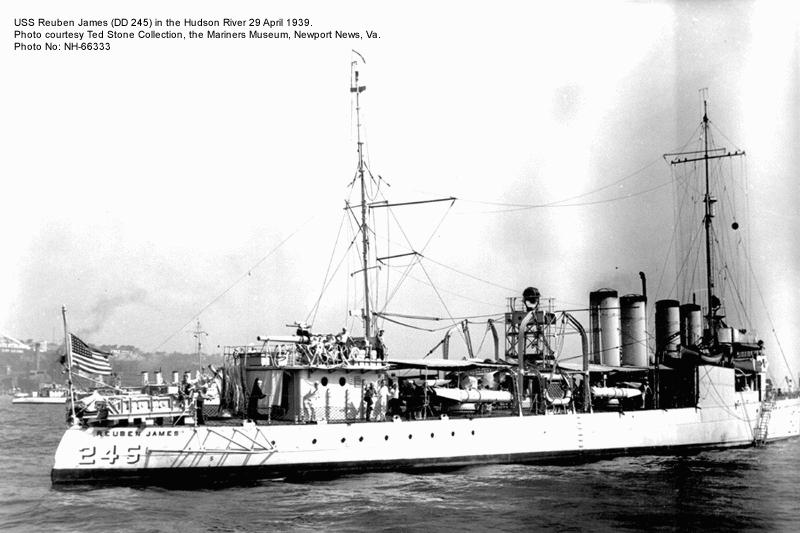 The USS Reuben James torpedoed in the early morning hours of October 31, 1941. 115...