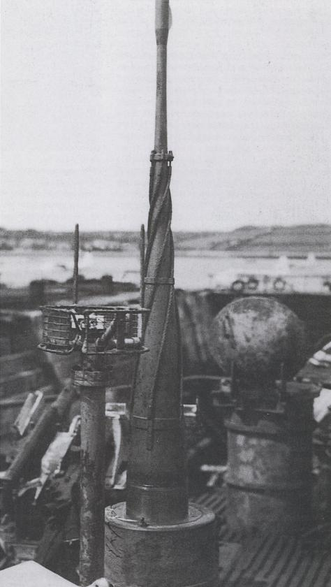 "Closeup of a U-boat's periscope and ""Runddipol"" antenna."