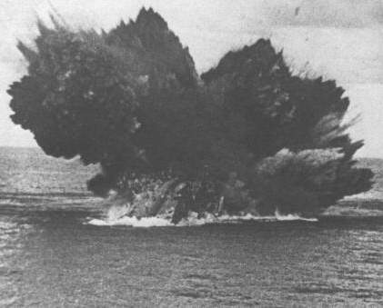 The sinking of HMS Barham as the magazine section blows up.