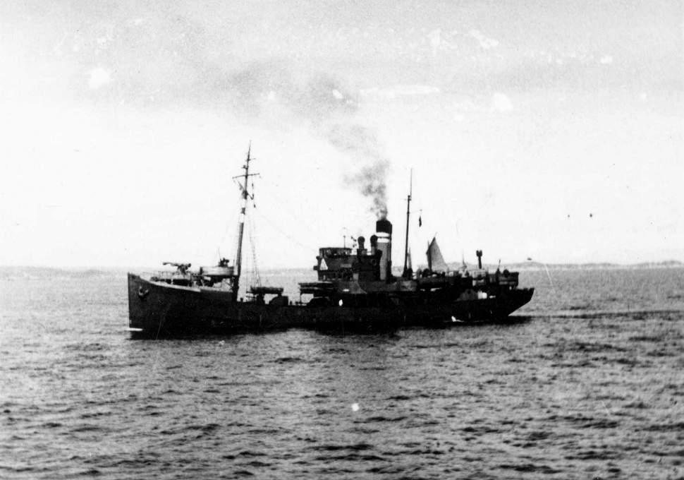 A merchant ship crosses the Atlantic ocean, 1940