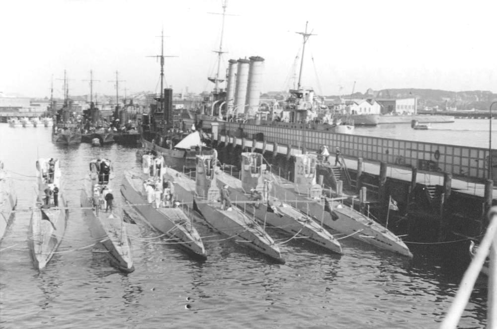 Seven Type II U-Boats of the Weddigen flotilla, 1935. Weddigen is named after the...