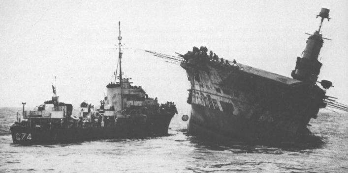 The 22,600 ton carrier, Ark Royal, tilting after an attack by U-81. Sufficient time...