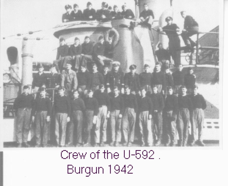 Crewmen of the U-592 in Burgun, 1942. With thanks to Gerard Walker.