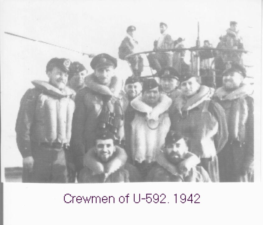 Crewmen of the U-592. The single 2cm flak can be seen in the background. By mid 1943,...