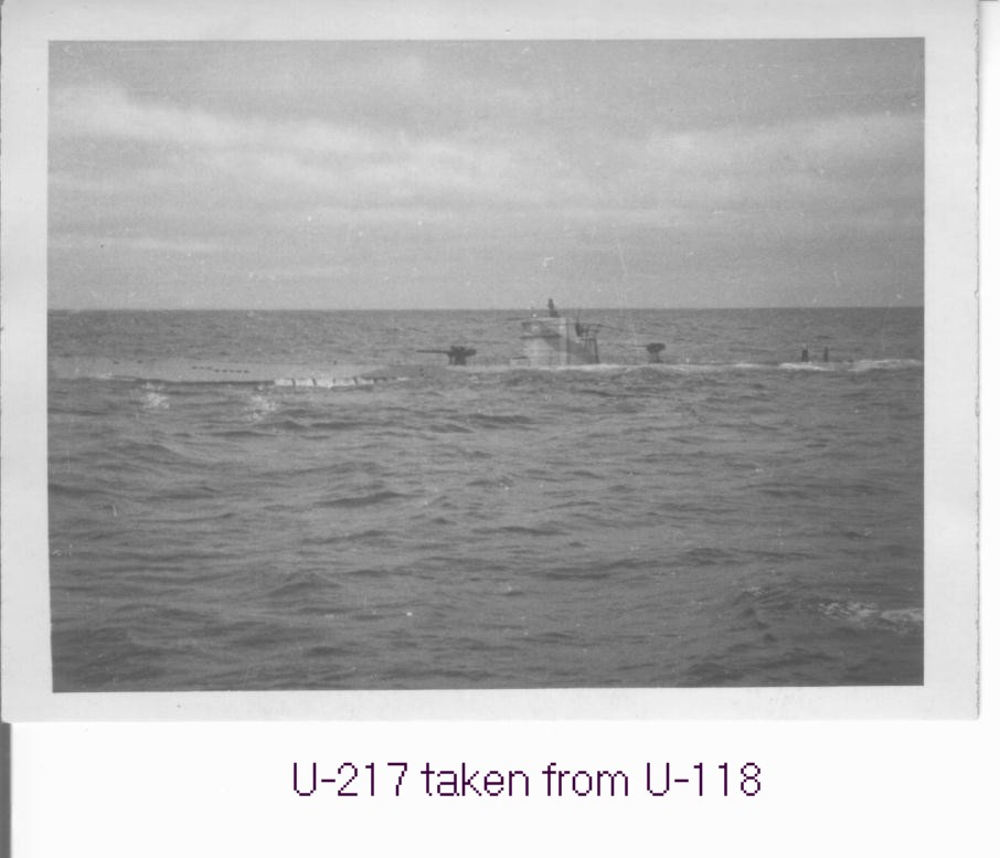 The U-217 photographed from the U-118. The U-217 was lost with all hands in June 1943...