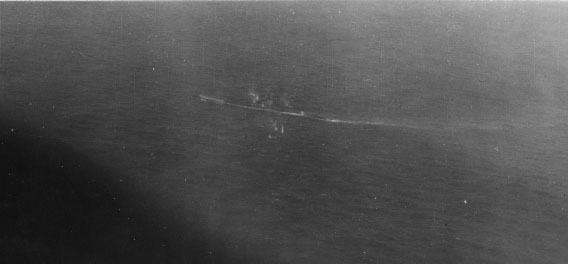 U-199 puts up intense antiaircraft fire during strafing attacks.
