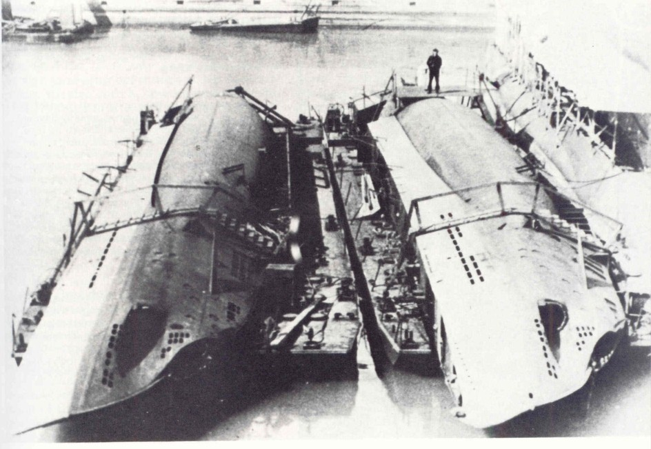 U-19 and U-23 lying alongside in the dockyard for assembly.