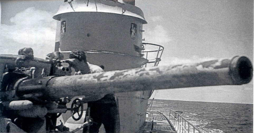 U-172, discernible by the emblem. Excellent shot of the gunner peering into the gunsight.