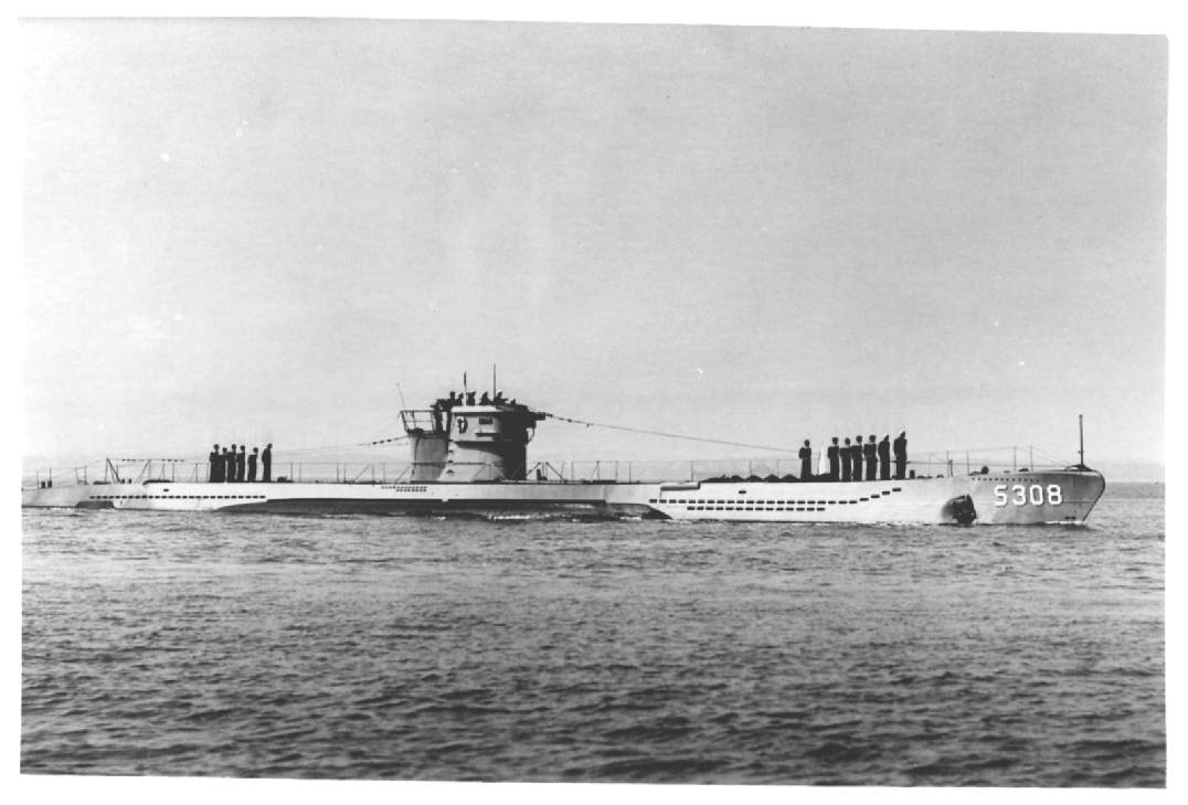 Type VII u-boat sporting the early bridge design. This one is labelled S308, probably...